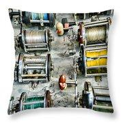 Fishing - Fishing Reels Throw Pillow by Paul Ward
