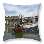 Fishing Trawler Wy 485 At Whitby Throw Pillow by Rod Johnson