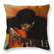Flamenco Guitar Player Throw Pillow by Harvie Brown