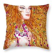 Flaming Desire Throw Pillow by Leonard Holland