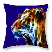 Flaming Tiger Throw Pillow by Shane Bechler