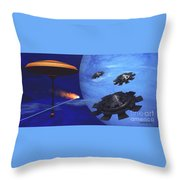 Floating Space City Throw Pillow by Corey Ford