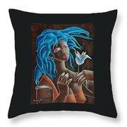 Flor Y Viento Throw Pillow by Oscar Ortiz