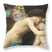 Flora And Zephyr Throw Pillow by William Adolphe Bouguereau