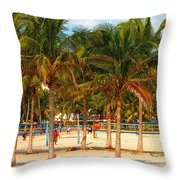 Florida Style Volleyball Throw Pillow by David Lee Thompson
