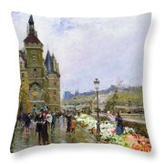 Flower Sellers By The Seine Throw Pillow by Georges Stein