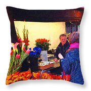 Flower Stand on Stockton and Geary Street . Photoart Throw Pillow by Wingsdomain Art and Photography