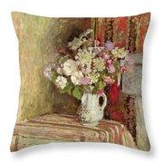 Flowers In A Vase Throw Pillow by Edouard Vuillard