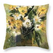 Flowers In White And Yellow Throw Pillow by Nira Schwartz