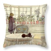 Flowers On The Windowsill Throw Pillow by Carl Larsson