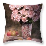 Flowers With Fruit Still Life Throw Pillow by Tom Mc Nemar