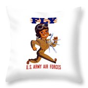 Fly - Us Army Air Forces Throw Pillow by War Is Hell Store