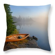 Foggy Morning on Spice Lake Throw Pillow by Larry Ricker