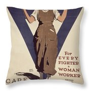 For Every Fighter A Woman Worker Throw Pillow by Adolph Treidler