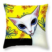 Foreign White Cat Throw Pillow by Leanne Wilkes