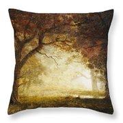 Forest Sunrise Throw Pillow by Albert Bierstadt
