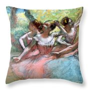 Four Ballerinas On The Stage Throw Pillow by Edgar Degas