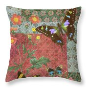Four Butterfly Patch Green Throw Pillow by JQ Licensing
