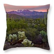 Four Peaks Sunset Throw Pillow by Dave Dilli