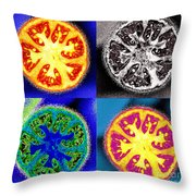 Four Tomatoes Throw Pillow by Nancy Mueller