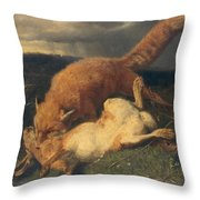 Fox And Hare Throw Pillow by Johann Baptist Hofner