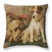 Fox Terrier With The Day's Bag Throw Pillow by English School