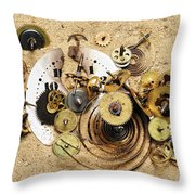 Fragmented Clockwork In The Sand Throw Pillow by Michal Boubin