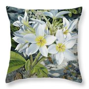 Frangipani Throw Pillow by Danielle  Perry