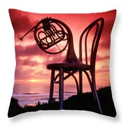 French Horn On Chair Throw Pillow by Garry Gay