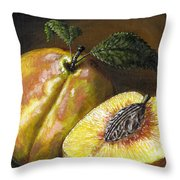 Fresh Peaches Throw Pillow by Adam Zebediah Joseph