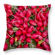 Fresh Red Radishes Throw Pillow by John Trax