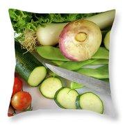 Fresh Vegetables Throw Pillow by Carlos Caetano
