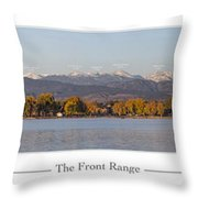 Front Range With Peak Labels Throw Pillow by Aaron Spong