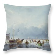 Frozen Winter Scene Throw Pillow by Andreas Schelfhout