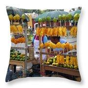 Fruit Stand Antigua  Guatemala Throw Pillow by Kurt Van Wagner