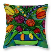 Funky Town Bouquet Throw Pillow by Lisa  Lorenz