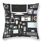 Gadgets Icon Throw Pillow by Setsiri Silapasuwanchai