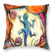 Gecko Throw Pillow by Patricia Allingham Carlson