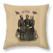 Generals Jackson Beauregard and Lee Throw Pillow by War Is Hell Store