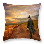 Gentleman Walking on Rural Road Throw Pillow by Jill Battaglia