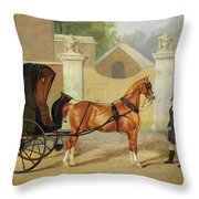 Gentlemen's Carriages - A Cabriolet Throw Pillow by Charles Hancock