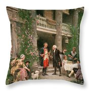 George Washington at Bartrams Garden Throw Pillow by Jean Leon Jerome Ferris