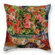 Geraniums And Cats Throw Pillow by Pierre Auguste Renoir