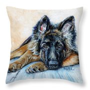 German Shepherd Throw Pillow by Enzie Shahmiri