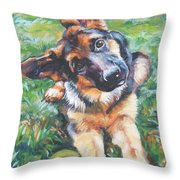 German shepherd pup with ball Throw Pillow by L A Shepard