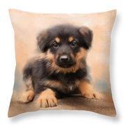 German Shepherd Puppy Portrait Throw Pillow by Jai Johnson