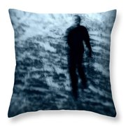 Ghost in the snow Throw Pillow by Perry Webster