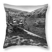 Ghost Wagons Of Bannack Montana Throw Pillow by Daniel Hagerman
