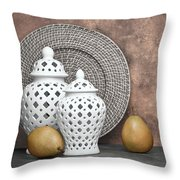 Ginger Jar With Pears II Throw Pillow by Tom Mc Nemar