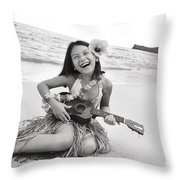 Girl And Her Ukulele Throw Pillow by Brandon Tabiolo - Printscapes